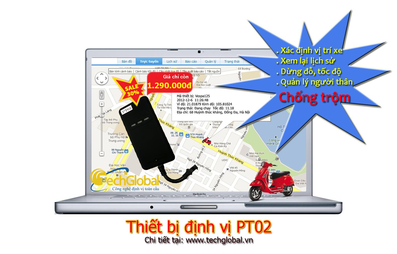 Techglobal Giảm giá thiết bị định vị xe máy từ 01/01/2013