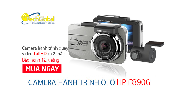 Thiết bị camera hành trình HP F890G 2 mắt trước sau